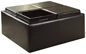 Ottoman With Flip Top Tray Homelegance Contemporary Storage Ottoman With Four