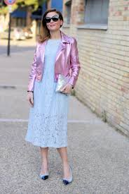 blue motorbike jacket lace dress and metallic pink motorbike jacket fashion and