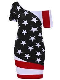 Saipan Flag 2018 Plus Size Skew Neck American Flag Patriotic Bodycon Dress