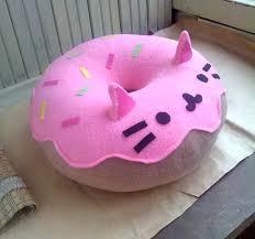 Cushion Donut Cat Pillow Kitty Cat Donut Pillow Plush Pink Free Shipping