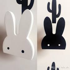 bunny decorations rabbit hook bunny wall stickers decor baby living room black white