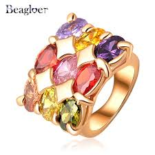 aliexpress buy beagloer new arrival ring gold beagloer top fashion finger rings gold color multicolour genuine