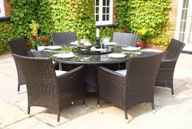sidney 1 4 metre round grey rattan dining table and 6 carver