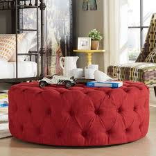 furniture appealing red tufted round ottoman design red