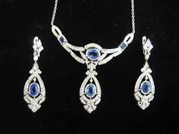 sapphire earrings necklace set images Diamond sapphire necklace earring set jpg
