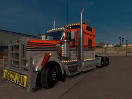 w900 gray orange kenworth w900 skin ats mod american truck
