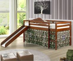 castle low loft bed with slide in espresso finish with camouflage