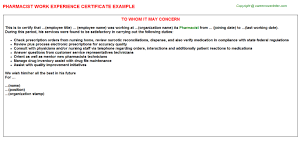 pharmacist work experience certificate