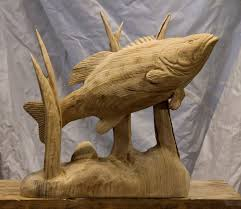 large wood sculpture 20 large bass carving custom sculpture sign company