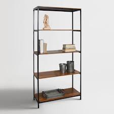 black bookshelf with cabinet wood and metal williard tall bookshelf world market