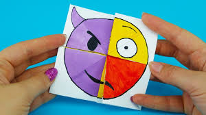 emoji diy paper magic card changer tutorial for
