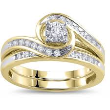 bridal ring set 1 3 carat diamond yellow gold bypass bridal ring set walmart