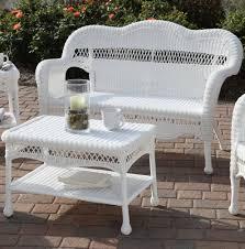 White Wicker Patio Chairs White Wicker Patio Set Used Home Design Ideas