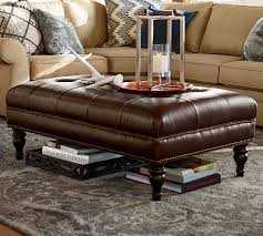 furniture butler tufted leather ottoman with trays in libby