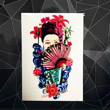 tattoo home decor japanese girl kimono temporary tattoo fan body art tattoo arm