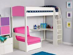 High Sleeper With Desk And Futon Merlin High Sleeper White With Pink Star Sofa Bed Beds