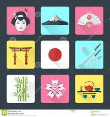 flat japan icons set stock vector image 46830608