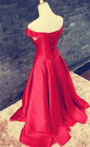 2017 red long prom dresses off the shoulder lace up back with bow