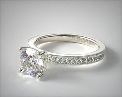 what is milgrain bright set milgrain pave engagement ring 14k white gold 17638w14