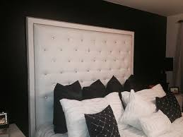White Faux Leather Crystal Button Tufted Headboard With Double - White faux leather bedroom furniture