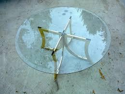 retro salt spring retro round glass coffee table with double
