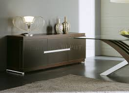 wenge finish modern buffet with leather details
