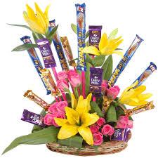 Yellow Lilies Yellow Lilies Pink Roses U0026 Cadbury Dairy Milk 5 Star U0026 Perk