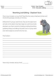 primaryleap co uk rewriting and editing elephant facts worksheet