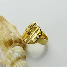 Gold Monogram Ring Aliexpress Com Buy Gold Color Monogram Initials Ring