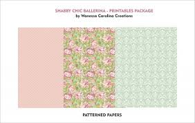 ballerina wrapping paper seamless floral background and borders set of shab chic