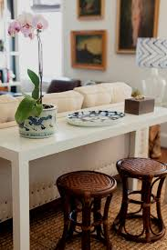 Table With Sofa White Parsons Sofa Table With Rattan Stools It U0027s All In The