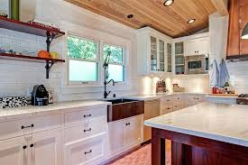 Country Kitchen With Flat Panel Cabinets  Inset Cabinets Zillow - Country kitchen tiles backsplash