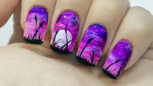 easy purple landscape freehand nail art youtube