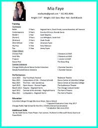 Fitness Instructor Resume Sample Dancer Resume Samples With Dance Resume Example For College And
