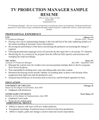 Sample Resume For Production Manager by Tv Production Manager Cover Letter