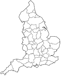 England County Map by England Football Club Ratings