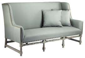 french country pierre tall back seafoam green linen and birch sofa