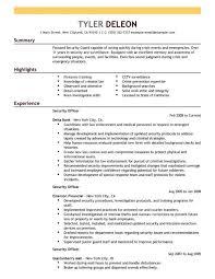 resume for security officer resume sample