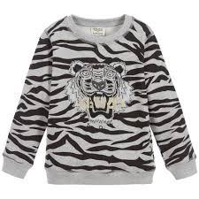 kenzo exclusive edition boys grey tiger sweatshirt designer