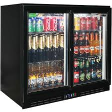 glass 2 door sliding commercial back bar bar fridge energy saving