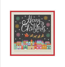 christmas cross stitch pattern merry christmas cross stitch