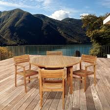 Overstock Com Patio Furniture Sets - polywood euro textured silver 5 piece patio dining set with teak