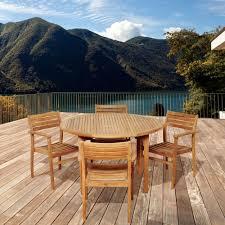 Teak Patio Dining Sets - polywood euro textured silver 5 piece patio dining set with teak