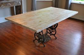 kitchen table with antique sewing machine base reclaimed wood