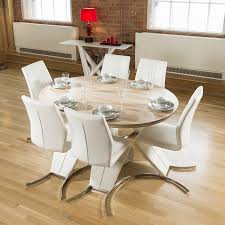 modern dining set round oval extending table 6 white z chairs