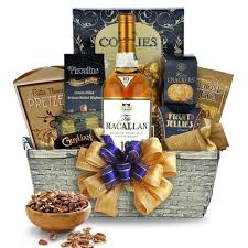 whiskey gift basket buy macallan 12 year sherry oak scotch gift basket think liquor