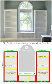 Built In Bench Seat Dimensions Diy Built In Bookshelves Window Seat Sand And Sisal