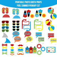 printable photo booth props summer instant download primary pool party summer printable photo booth