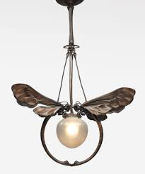 Art Deco Style Light Fixtures by European Art Nouveau Chandelier Patinated Bronze And Glass Metal