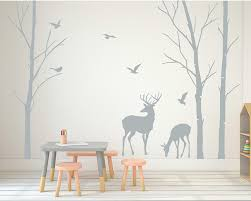 Removable Nursery Wall Decals Deer Wall Decals Tree Nursery Wall Woodland Nursery Removable